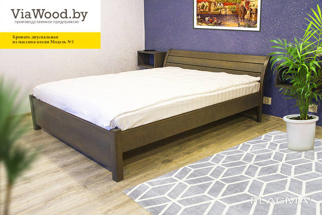 Double and single wood beds made of alder